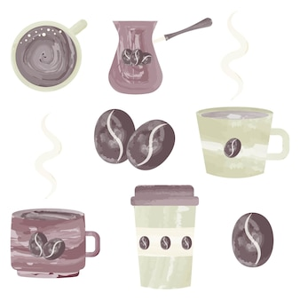 Set of coffee icons with watercolor effect