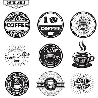 Set of coffee labels, design elements