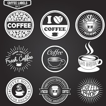 Set of coffee labels, design elements