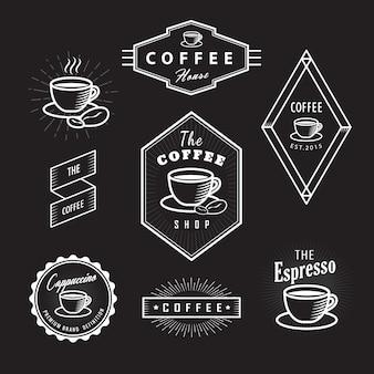 Set coffee labels vintage logos blackboard retro template