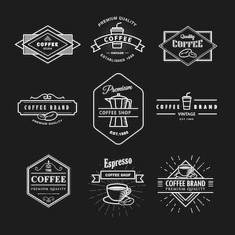 Set coffee logo vintage label blackboard template