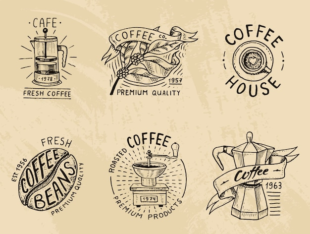 Set of coffee logos. modern vintage elements for the shop menu.  illustration.