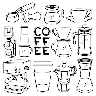 Set coffee makers tools element drawn doodle