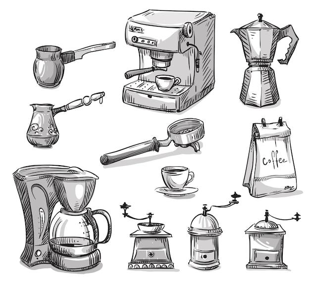 Set of coffee making equipment vector sketch