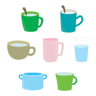 Set of coffee mugs isolated on background