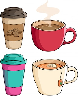 Set of coffee paper cup with tea cup by using colored doodle style