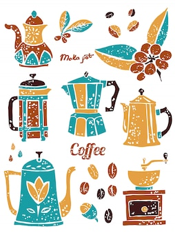 Set of coffee pots in naive lino style