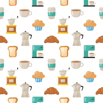 Set of coffee shop icons pattern seamless isolated