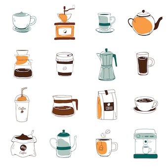 Set of coffee shop icons vector