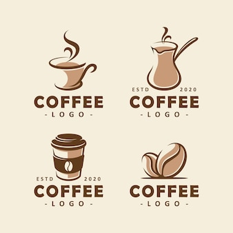 Set of coffee shop logo design template