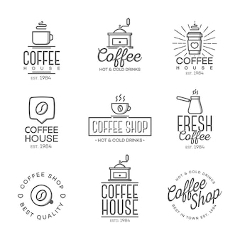 Set of coffee shop logo isolated