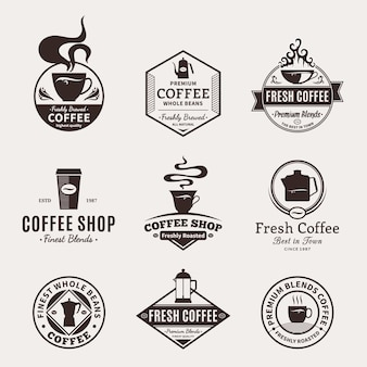 Set of coffee shop logos. coffee labels with sample text.