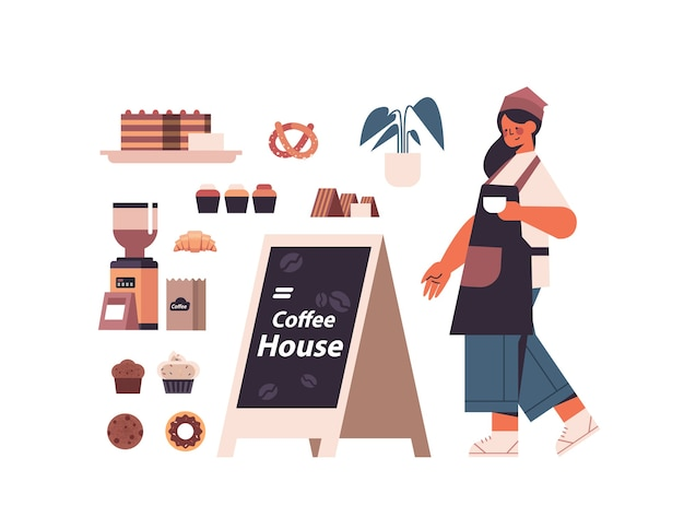 Set coffee shop tools and accessories with female barista in uniform sweets and coffee collection full length isolated horizontal vector illustration