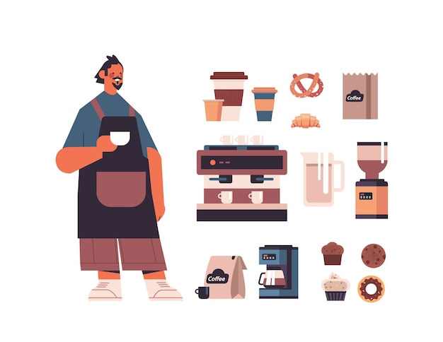 Set coffee shop tools and accessories with male barista in uniform sweets and coffee collection full length isolated horizontal vector illustration