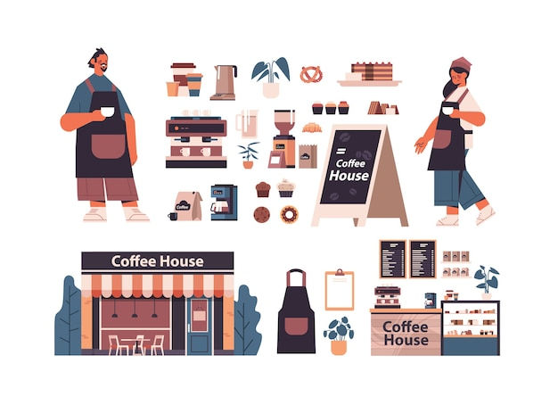 Set coffee shop tools and accessories with man woman barista in uniform isolated horizontal vector illustration