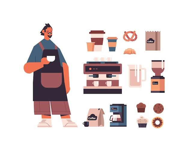 Набор инструментов и аксессуаров для кофейни с мужчиной-бариста в униформе, сладости и коллекция кофе в полный рост, изолированные горизонтальные векторные иллюстрации