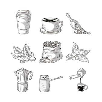 Set coffee sketch