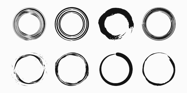 Set of coffee stain ring vector shape - circle stamps - round brush stroke - icon, logo design.