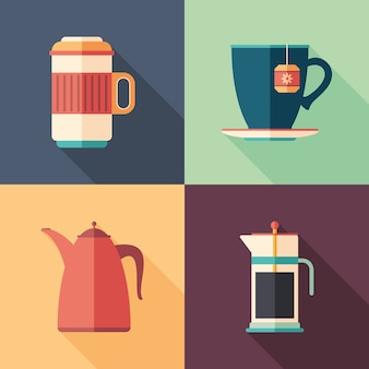 Set of coffee and tea flat square icons with long shadows.