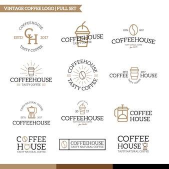 Set of coffee and tea logo combination.