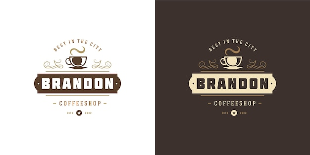 Set of coffee or tea shop logos