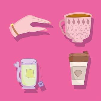 Set of coffee and tea