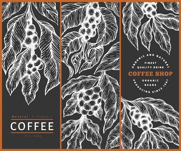 Set of coffee   templates. vintage coffee background. hand drawn engraved style illustration on chalk board.
