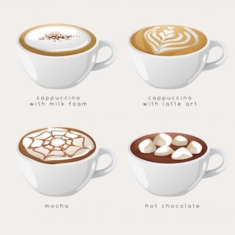 Set of coffee types :  illustration