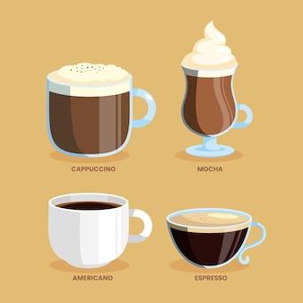 Set of coffee types