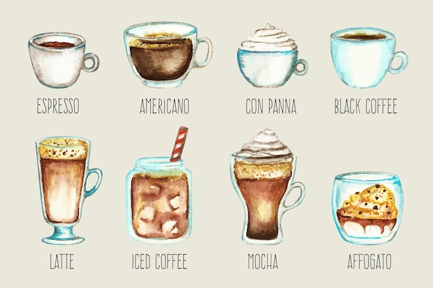 Set of coffee types