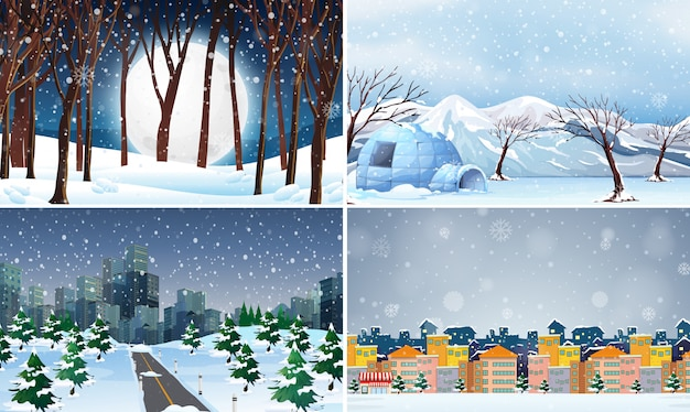 Set of cold winter background