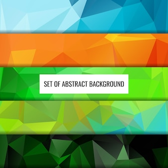 Set collection of abstract color polygon background design abstract geometric origami style