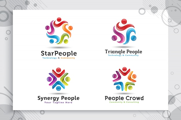 Set collection of abstract illustration star people crowd logo with colorful and modern style concept.