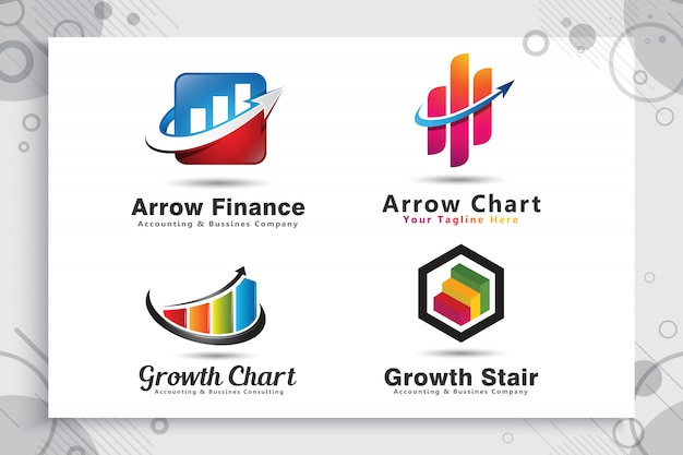 Set collection of arrow chart logo as a symbol of accounting with modern concept.