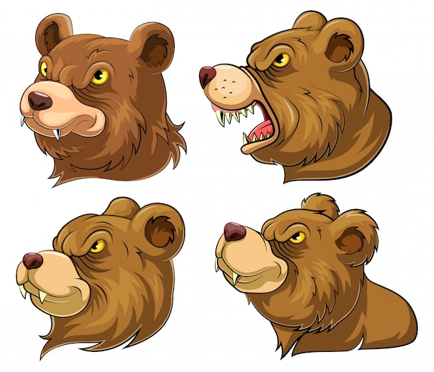 Set collection of bear head mascot