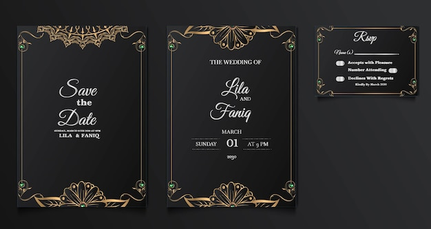Set collezione bellissimo design di carta di invito a nozze di lusso