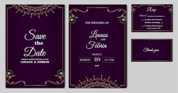Set collection beautifull luxury wedding invitation card template
