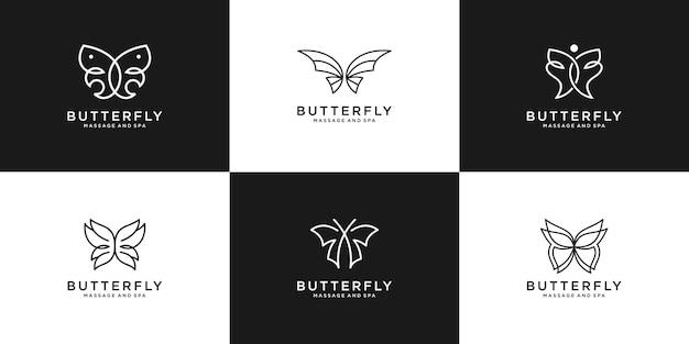 コレクションビューティーバタフライラインアートスタイルを設定します。フェミニン、サロン、スパのロゴデザイン。