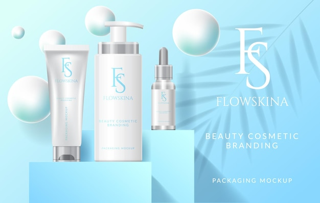 Set collection of beauty fashion cosmetic serum cream medical skincare mockup product vector illus