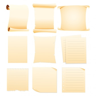 Set of collection blank papers