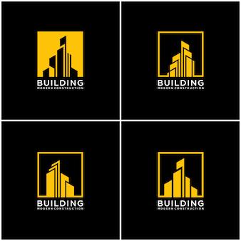 コレクションの建物のロゴデザインバンドル建設を設定します。
