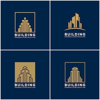 컬렉션 건물 로고 디자인 번들 건설을 설정합니다.