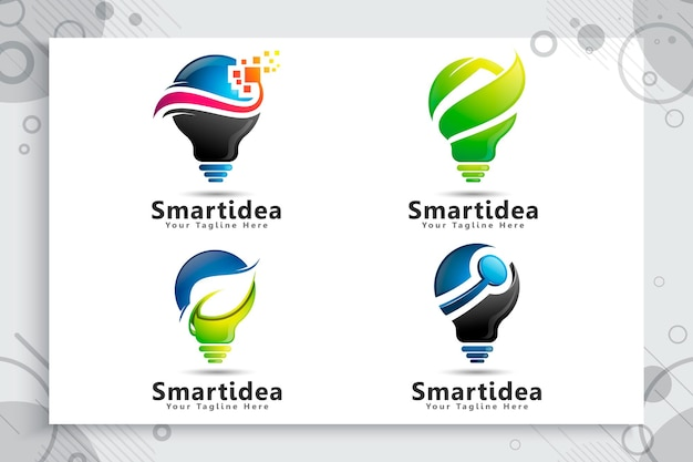 Set collection of bulb energy green smart idea logo