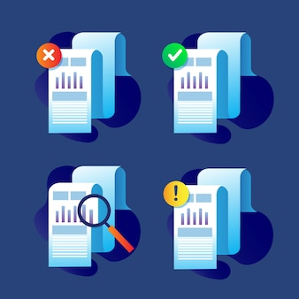 Set collection of business paper icon for tax and accounting collateral