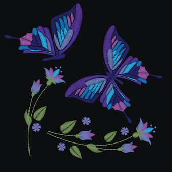 Set collection of butterflies and flowers