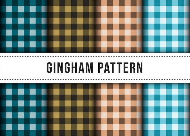 Set collection of checkered gingham line tablecloth seamless pattern.