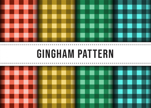 Set collection of checkered gingham line tablecloth seamless pattern