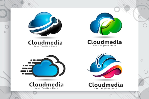 Set collection of cloud data logo
