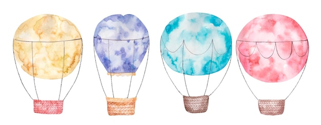 Set collection of colored balloons with basket cute watercolor isolated childrens illustration