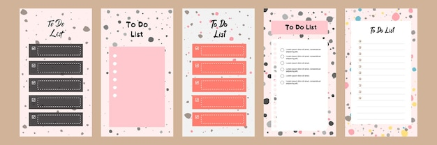 Set collection of colorful blank to do list template for social media story with terrazzo pattern